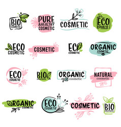 eco cosmetics and organic production ecological vector image