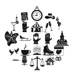 elation icons set simple style vector image