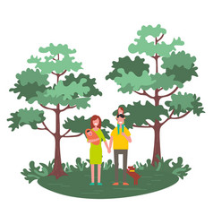 family mother father and children walking outdoors vector image
