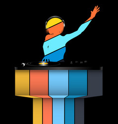 female striped dj silhouette and record decks on vector image