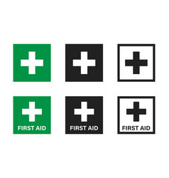 first aid cross isolated icon flat button on vector image