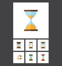 Flat icon timer set of sandglass instrument vector