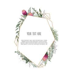 floral botanical card design with leaves vector image
