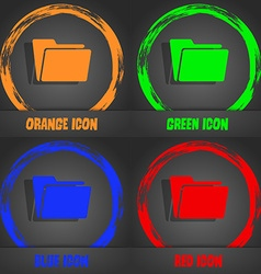 Folder icon Fashionable modern style In the orange vector