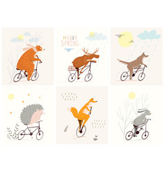 forest animals riding bicycles in nature with rain vector image