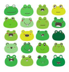 Frog face emoticons set vector
