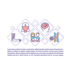 Genetic diseases concept line icons with text vector