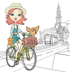 Girl with dog rides a bike in Amsterdam vector image