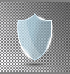 Glass shield in front view blue acrylic security vector