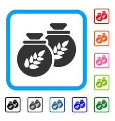 grain harvest sacks framed icon vector image vector image