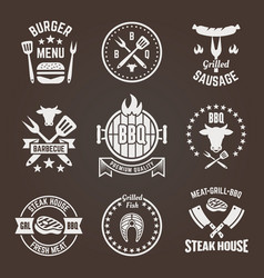 grill and barbecue restaurant menu emblems vector image