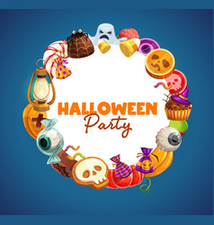 halloween trick or treat candies and pumpkins vector image