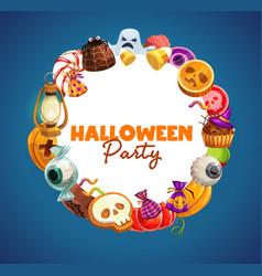 Halloween trick or treat candies and pumpkins vector