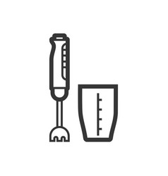 hand blender outline single isolated icon vector image