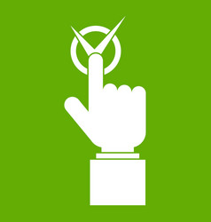 Hand finger pressing button with tick icon green vector