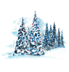 hand painted watercolor christmas tree vector image