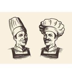 Happy chef in hat Sketch vector