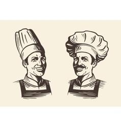 Happy chef in hat Sketch vector