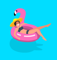 happy girl sitting on an inflatable flamingo in a vector image
