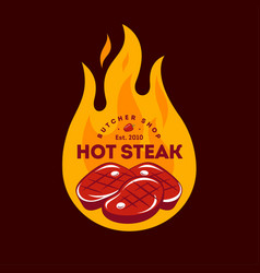 hot steak logo butcher shop sign grill party vector image