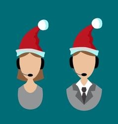 icons support in Santa hats vector image vector image