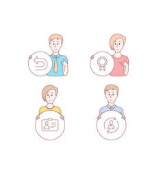 Id card undo and reward icons person info sign vector