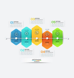 infographic design template with timeline and 5 vector image