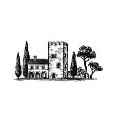 ink sketch italian country house vector image
