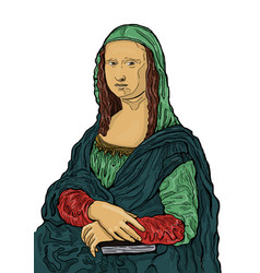 Isolated of mona lisa painting drawn by lenardo vector