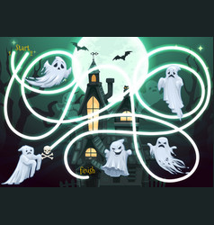 Kids maze game with halloween ghosts characters vector