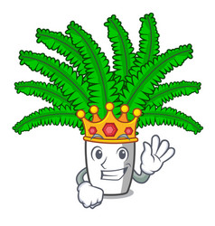 King fresh fern branch isolated on mascot vector
