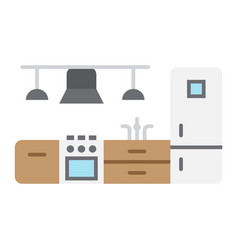 kitchen furniture flat icon and interior vector image