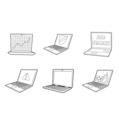 laptop icon set outline style vector image