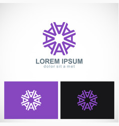 letter a circle geometry purple logo vector image
