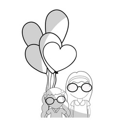 Line pretty girls with hairstyle and balloons vector