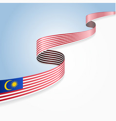 Malaysian flag wavy abstract background vector