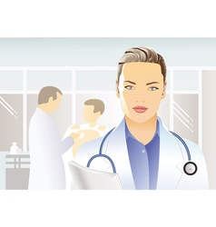 Medician with stethoscope vector