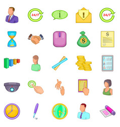 Monetary influence icons set cartoon style vector