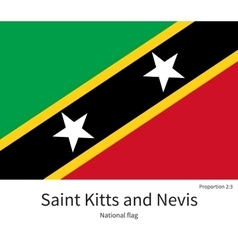 National flag of Saint Kitts and Nevis with vector image
