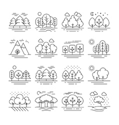 Nature forest landscape thin line icons vector