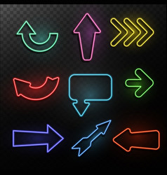 neon arrows bright light direction arrow frames vector image