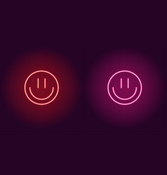 neon emoji with smile glowing sign icon vector image