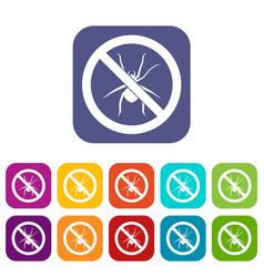 No spider sign icons set vector