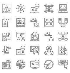 online meeting line icons set - video call vector image