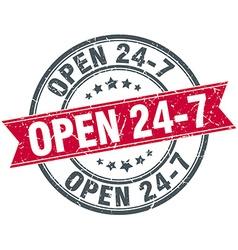 Open 24 7 red round grunge vintage ribbon stamp vector
