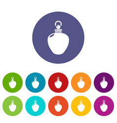 Perfume bottle merchandise icons set color vector