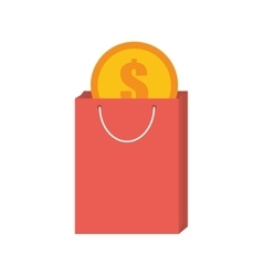 Pink bag gift buy with dollar coin vector