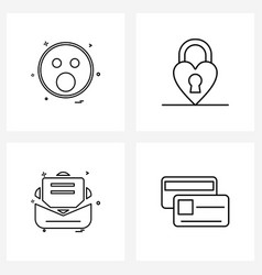 Pixel perfect set 4 line icons such as emoji vector
