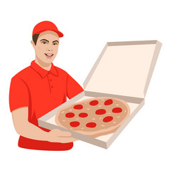 pizza delivery man in red flat style front vector image