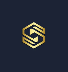 Polygon shape line s initial gold logo vector